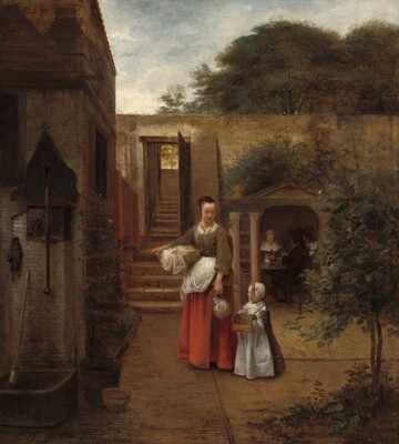 Woman and Child in a Courtyard
