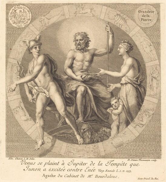 Venus se plaint a Jupiter de la tempete que Junon a excitee contre Enee