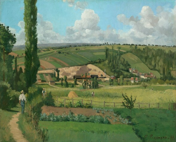 """A small complex of white buildings with red-tile roofs are engulfed in a patchwork of lush, green farm fields over rolling hills in this nearly square painting. The sun-drenched scene is loosely painted with visible brushstrokes in shades of spring, clover, and pine green, with touches of caramel and sand-brown. The horizon comes about three-quarters of the way up the composition, and white clouds float against the icy blue sky above. Small in scale, a few people walk along pathways between fields and a few work among the crops. The cluster of buildings is situated along the base of a hill that rises in the distance, about halfway up the painting. A man wearing a straw hat, a white shirt, and denim-blue overalls walks away from us, perhaps carrying a long-handled tool in the lower left corner of the painting. Another person, perhaps a woman wearing a dress and white cap, stands at a fence along the path, near the man. The artist signed and dated the work with dark paint in the lower right corner: """"C.Pissarro.68."""""""