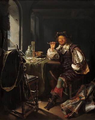 Frans van Mieris, A Soldier Smoking a Pipe, c. 1657/1658c. 1657/1658