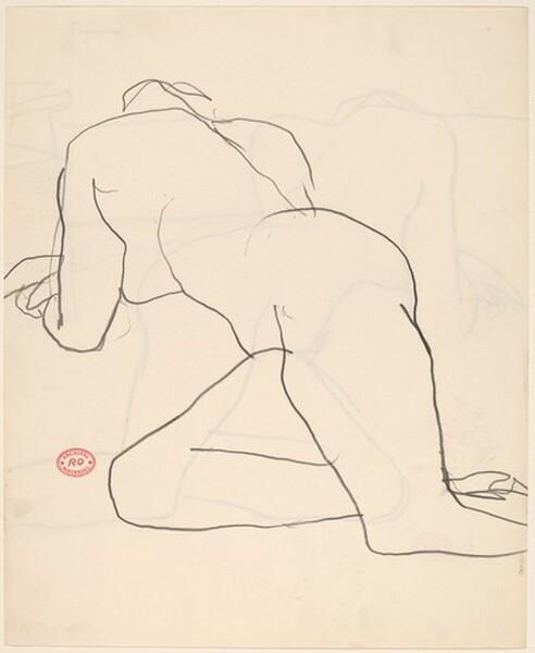 Untitled [nude reclining in studio]