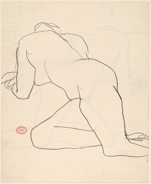 Untitled [nude reclining in studio]