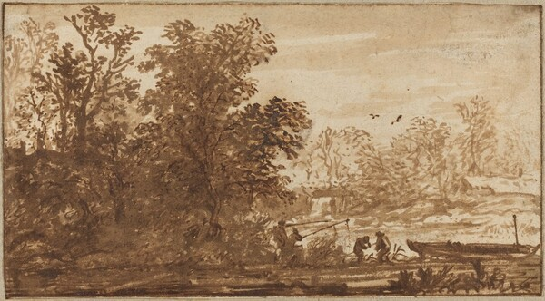 Fisherman in a River Landscape