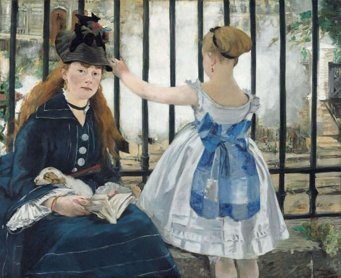 To our left, a young woman sits facing us on a low stone wall at the base of vertical, black bars of an iron fence and a young girl stands facing away from us to our right in this horizontal painting. Both have pale white skin. The woman looks directly at us with dark eyes as she holds an open book, a closed red fan, and a sleeping brown and white puppy in her lap. Her long auburn hair falls down over her shoulders. Her navy-blue dress is accented with white piping on the skirt, collar, and sleeves, and has three large, white buttons down the front and her black hat is adorned with two red poppies and a daisy. The girl wears a sleeveless white, knee-length dress belted with a marine-blue sash tied in a large bow at her back. The girl's tawny-blond hair is pulled up and tied with a black ribbon. She raises her left hand to grasp the bar of the fence she faces. A bunch of uneaten green grapes lies on the low wall to our right. A plume of steam fills much of the space beyond the black fence, which spans the width of the painting and extends off the top edge. A few details are discernable beyond the fence, including a stone-gray building with two wooden doors to our left and a bridge along the right edge.
