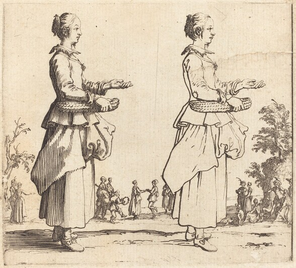 Peasant Woman with Basket, in Profile,  Facing Right