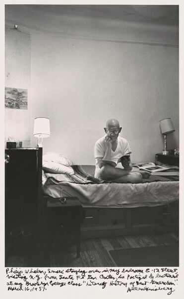 Philip Whalen, sensei staying over in my bedroom E. 12 Street, visiting N.Y. from Santa Fe Zen Center, he poetized & lectured at my Brooklyn College class Literary History of Beat Generation. March 16, 1987.