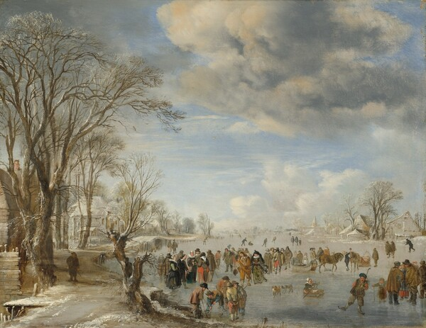 """Dozens of people stand, skate, play a game like hockey, or ride horse-drawn sleds on a frozen river that winds along a town to our left and into the distance in this nearly square landscape painting. The horizon comes about a quarter of the way up the composition, and the sky above is filled with ivory-colored clouds billowing up against a pale blue sky. Some of the men wear tall hats, hip-length capes over jackets, and breeches over stockings, while others are more simply dressed with rounded hats. Several of the women wear wide, pleated, plate-like neck ruffs, fur muffs, and long dresses while others wear aprons over peanut-brown and muted blue dresses. The scene is alive with activity, including a man seeming to look at us as he balances rakishly on one skate near the lower right corner, and a young girl sitting in a sled and pushing herself along with sticks nearby. The trees lining the snow-covered, riverside path are bare and the village to our left is painted in tones of pale tan and white. In the distance the snowy earth blends into the soft blue sky and fluffy clouds above. The artist signed and dated the work as if he had painted his inscription on the face of a wooden fence in the lower left corner: """"AV DN 1645."""""""