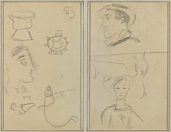 A Caricature and Five Forms; A Man in Profile, a Winged Creature and a Boy [verso]