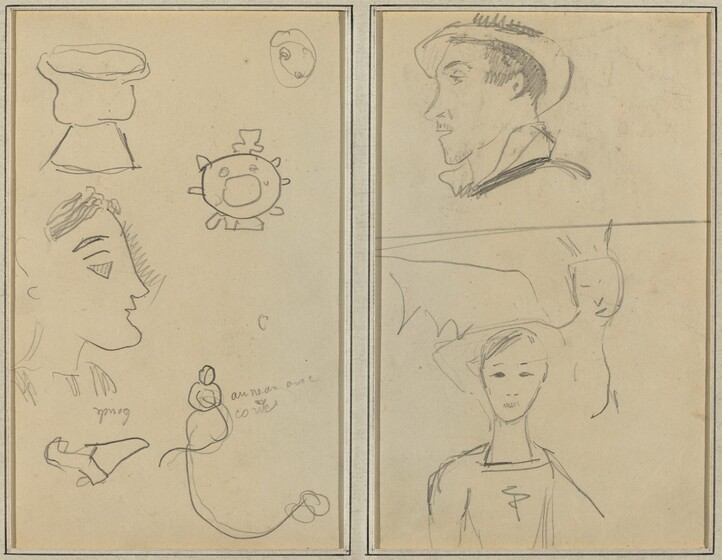 Paul Gauguin, A Caricature and Five Forms; A Man in Profile, a Winged Creature and a Boy [verso], 1884-1888