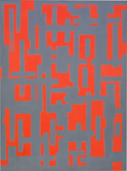 Orange-red and battleship gray geometric forms are arranged in a loose grid in this vertical abstract painting. Made entirely of vertical and horizontal lines, the forms are reminiscent of letters or hieroglyphs. Sometimes the red forms seem to float in front of a gray background, but then the contrast will flip so the gray comes forward, creating a subtle optical illusion.