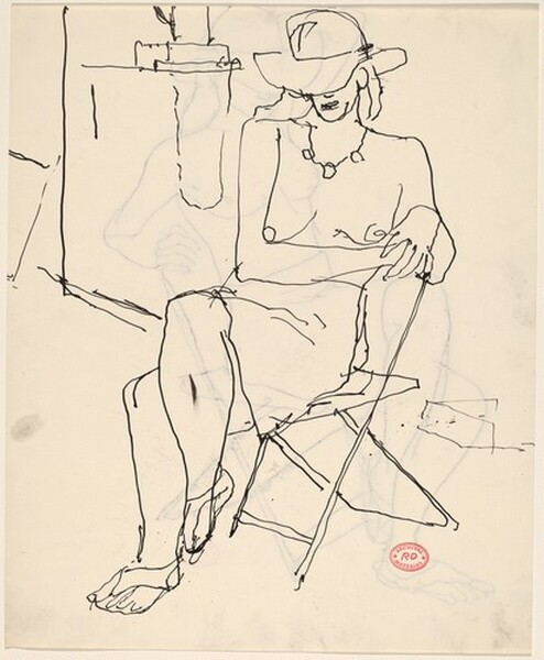 Untitled [partially nude woman seated wearing a hat and necklace] [recto]