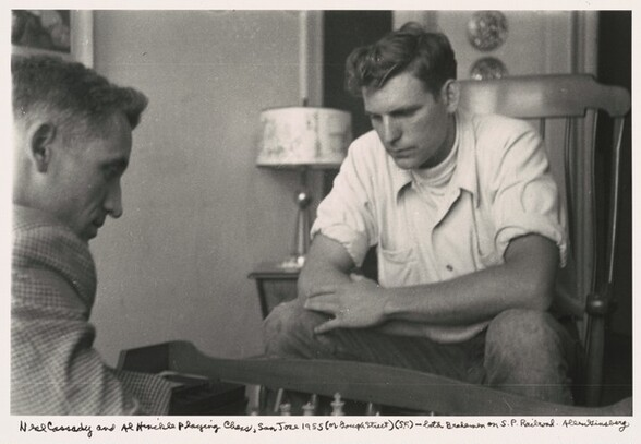 Neal Cassady and Al Hinckle playing chess, San Jose 1955 (or Gough Street) (S.F.) -- both brakemen on S.P. Railroad.