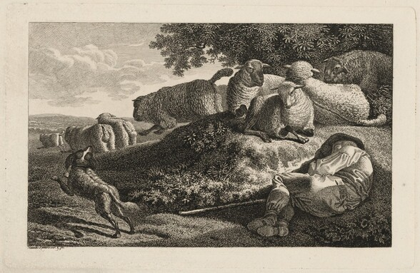 A Shepherd Sleeping while His Dog Guards His Flock