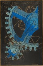 """Two gears with interlocking sprockets, painted in shades of cobalt, slate, and sky blue and shown against a black background, nearly fill this abstracted, vertical work. A large gear, situated to our upper right, takes up most of the composition and extends off the top and right edges. It is marked with a number 2, and the much smaller gear, to our lower left, is labeled with a gold number 1 at its center. Circles and straight and curving lines cluster around and over the gears, and are drawn in metallic gold against the dark background but continue in black where they cross the gears. An inscription in gold capital letters across the top reads, """"MACHINE TOURNEZ VITE."""" In the lower left, it reads, """"1 FEMME"""" and """"2 HOMME."""" The artist signed the work in lower right in metallic gold letters: """"Picabia."""""""