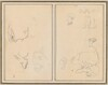 Head of a Man with a Study of His Back; Various Sketches with a Peasant Woman and a Goose [recto]