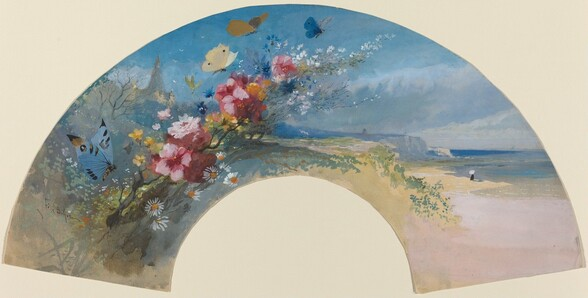 Fan with Wildflowers and Butterflies against the Norman Coast