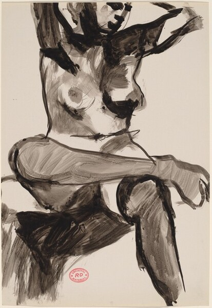 Untitled [seated female nude in stockings with crossed legs]