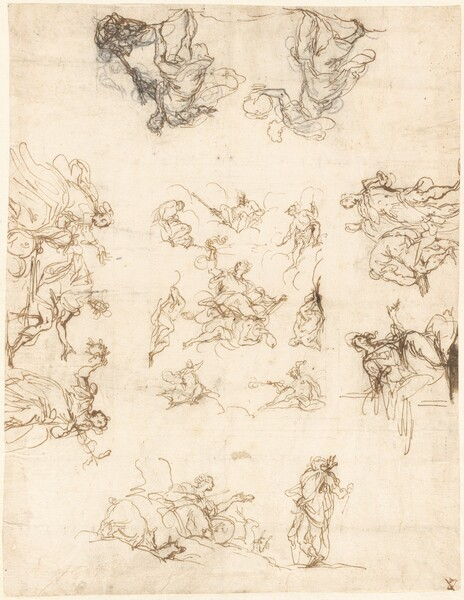 A Compartmented Ceiling with Allegories and Myths