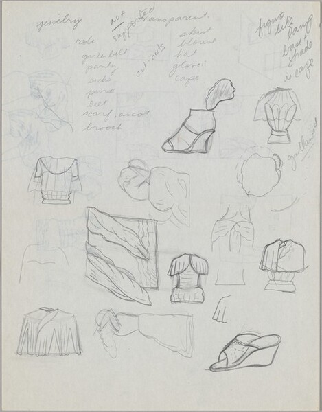 Untitled (studies of various clothing accessories) [verso]
