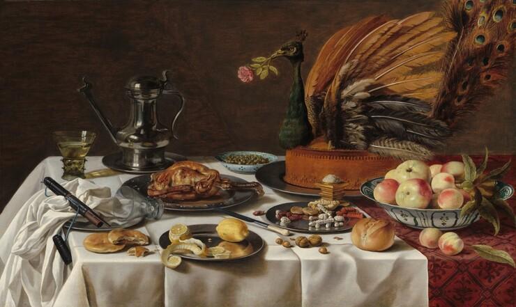 Pieter Claesz, Still Life with Peacock Pie, 16271627