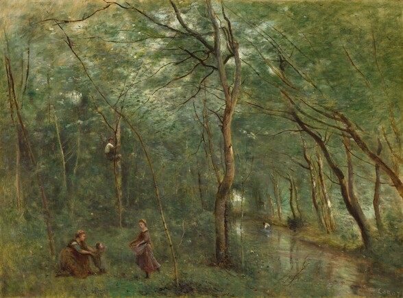 Four people wearing earthy brown gather near a stream that runs through a lush forest carpeted and filled with moss, pine, and sage green trees and undergrowth, interlaced with thin, willowy peanut and coffee-brown tree trunks in this horizontal landscape painting. The forest fills the composition and the scene is dominated with tones of green, even in the reflections in the water. The stream runs from the lower right corner into the distance near the right side of the canvas. The trees and undergrowth are painted with blended brushstrokes, giving the scene a soft and indistinct glow. Near the lower left corner, a woman kneels and helps a baby take a step toward a young girl, who walks to the pair with something gathered and held up in her apron. A boy climbs a tree nearby. A fifth person appears after close inspection, standing in and bending over the stream in the distance to our right. The scene is diffusely lit, with only a few bright spots in the canopy of the trees to suggest sunlight and sky beyond.