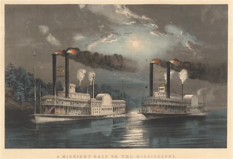 Frances Flora Bond Palmer, A Midnight Race on the Mississippi, 1860