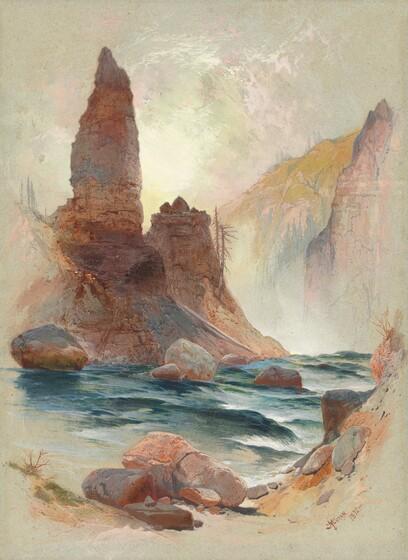 <p>Thomas Moran, Tower at Tower Falls, Yellowstone, 1872