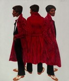 """It seems that the same man, with dark brown skin, a black afro, mustache, and goatee, and wearing a cardinal-red coat over a black suit, is shown three times—once from the back at the center and facing the left and right edges of the canvas to either side—in this vertical portrait painting. All three views of the man float against a paper-white background. The man has a deep-set eyes under black brows, a wide nose, and high cheekbones. His thin mustache frames full lips, which are closed in all three views, and a line of black hair grows down his pointed chin. He wears a jet-black suit over a bright-white turtleneck shirt, and honey brown and ivory white wingtip dress shoes. The collar of his shin-length, red coat is popped up and the belt hangs loose in three views. In the version to our left, he faces that direction in profile with his eyes closed as he pulls the coat back to tuck his left hand, closer to us, into the pocket of his suit jacket. With his back facing us at the center, he turns his face to our left so we see the side of his cheekbone, the tip of his nose, and his eyelashes outlined against the white background. In the view to our right, his body faces that direction with the hand closer to us tucked into the coat pocket, and he turns his head to look toward or at us with shadowed eyes. The artist signed and dated the painting in the upper right corner: """"B. Hendricks 72."""""""