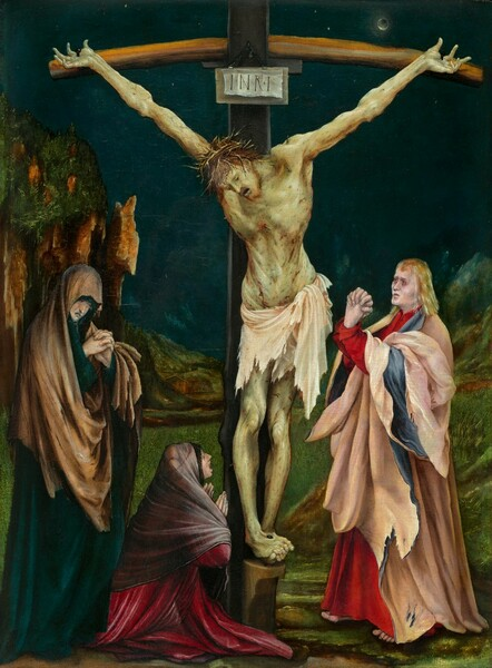 Three pale-skinned people stand around a cross from which hangs the twisted and bloodied body of a nearly nude man, Jesus, set in a dark, rocky landscape in this vertical painting. Jesus wears a ring of spiky thorns on his head and a white loincloth encircles his waist. His white skin is tinted green and covered all over with short red gashes. His body hangs heavily from his hands, which are nailed to the cross so his arms make a shallow Y shape. His head hangs down, and his eyes and mouth are open. His feet coil around a nail near the base of the cross. A man wearing a crimson red garment under a pale blue and pink robe stands to our right facing the cross. He has blond hair, white skin, red rings around his eyes, and his fingers are tightly interlaced and twisted in an exaggerated prayer. One woman stands to our left, wearing a teal and brown robe that covers her bowed head. She gazes down beyond her clasped hands and her mouth is downturned. A second woman wearing an ash-purple garment over a raspberry pink robe kneels at the cross to our left. She holds her hands up at her chest as she looks up at the person on the cross, her mouth open wide. Rocky outcroppings rise along either side of the painting in the landscape, and a house is seen at the center beyond the cross. A dark disc covers a small bright moon in the dark blue, nighttime sky.