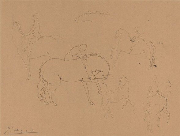Six Circus Horses with Riders