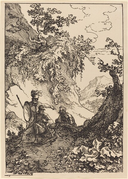 Landscape with Men in Armor, Tree Stump