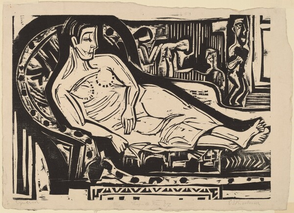 Woman Lying on a Sofa