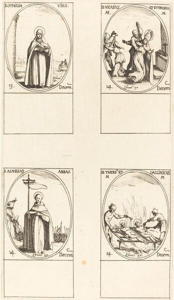 St. Othilia; Sts. Nicasius & Eutropia; St. Agnelus; Sts. Thyrs