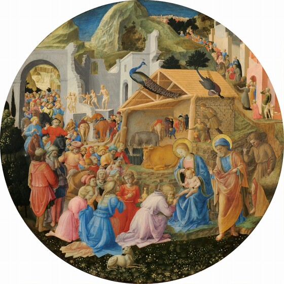 Dozens of people line up around a shed-like manger and through stone ruins to kneel before a woman and baby, the Virgin Mary and Jesus, at the lower center of this circular painting. All the people have pale white skin. The crowd gathers along a pathway that winds around a rocky mountain at the top middle of the composition. Most of the people are on foot but a few ride horses or camels. The line of people curves around and through an arched opening in a stone ruin to our left. Sitting at the center of the painting, behind Mary and Jesus, the manger is open at the front and has a triangular pitched roof. Some of the people, including the three closest to Mary and Jesus, wear elegant, gold-trimmed clothing. Others wear simple tunics, and several people standing along the ruins in the middle distance wear only white loincloths. Ages of the people range from young and cleanshaven to older and bearded. Their costumes are mostly pale yellow, coral, crimson, shell pink, or sky blue. Some people raise their heads and hands while others hold hands to their chests and close their eyes. Mary wears a pale blue robe over a blush pink dress. The baby is nude and an older man standing nearby wears an apricot-colored robe over a blue tunic. The older man, Mary, and baby have gold halos. A peacock and two other birds stand on the roof of the manger, which shelters an ox, ass, and horses.