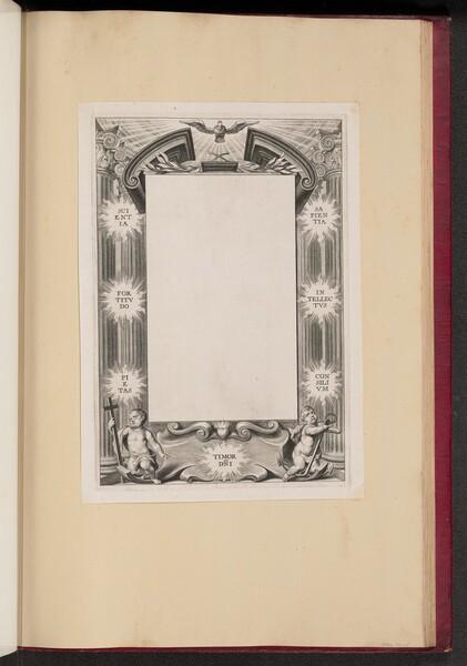 Border Illustration with Two Putti Scientia, Fortitvdo, Pietas, Timor-DNI, Sapientia, Intellectvs, Consilivm