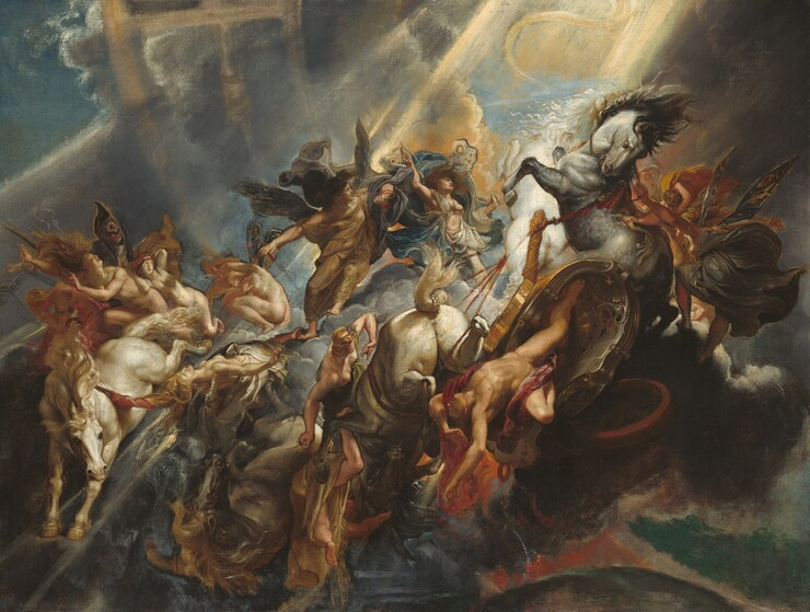 As if floating high above the earth, we look onto a dramatically lit scene with a man falling from a horse-drawn chariot in mid-air, surrounded by eleven women and clouds in this horizontal painting. All of the people have pale skin and are illuminated by a bright burst of sunlight streaming across the scene from the upper right corner. The man, covered only by a burgundy-red sash across his groin and wrapped around one shoulder, careens headfirst from the U-shaped golden chariot with his chest facing us, arms overhead and legs splayed, near the lower right corner. The tumble of bodies around him includes four horses, three ivory colored and one gray, and the eleven women who are either nude or dressed in robes of parchment white, tan, slate blue, butterscotch yellow, steel gray, or rose pink. The women all have blond or brown hair, and some have wings like butterflies, patterned with circles and stripes. They seem to fall alongside the man or float above the wreckage, robes and hair billowing. Some of the women hold the red reins of the horses, though some of the reins stop in midair or are painted over so they appear as dark lines beneath the surface. The nickel-gray clouds surround and support some of the women in front of a hazy circular arch, representing the zodiac, curving across the composition. The sky around the edges of the painting is deep aqua blue, and vibrant orange flames lick up from the earth in the lower right.