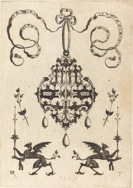 Large Pendant, Lower Left and Right Two Griffins Carrying Fantasy Candlesticks