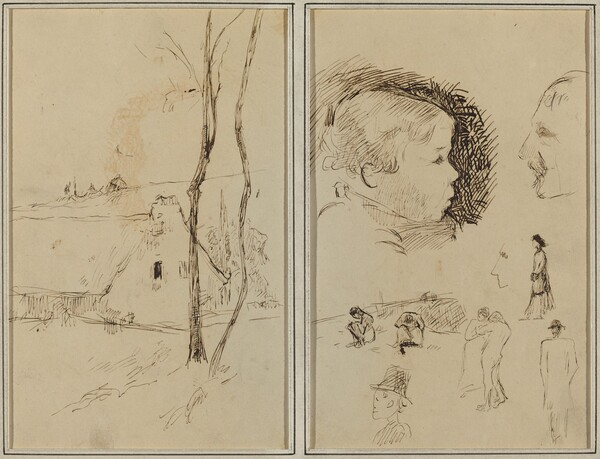 Landscape with a Cottage; Profile of Boy, Profile of Man, Two Women in a Landscape, and Five Other Studies [verso]