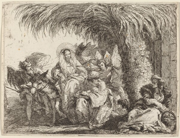 Joseph Kneels with the Child before Mary on the Donkey
