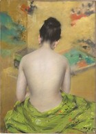 """Shown from the hips up, a mostly nude woman with porcelain white skin and dark hair pulled up into a loose bun sits with her back to us in this vertical pastel. Touches of sunshine yellow, scarlet, and black suggest a pattern on the spring green cloth loosely encircling her hips along the bottom edge of the paper. She seems to hold her hands in front of her body so her elbows are bent and she looks down, perhaps at something in her hands or lap. Her black hair is flecked with white to suggest glinting light. The background is filled with a golden yellow field interspersed with hazy turquoise, tomato red, sky blue, and black shapes. It is loosely rendered with pastel to create a blurry effect. Eventually it becomes evident that it is a Japanese screen with clusters of people, landscape, and perhaps a courtyard. The artist signed the work with red letters near the woman's right hip: """"Wm M Chase."""""""