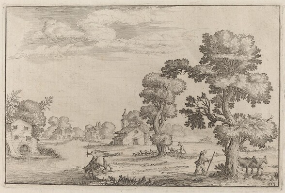 Lakeside Village with Herdsmen
