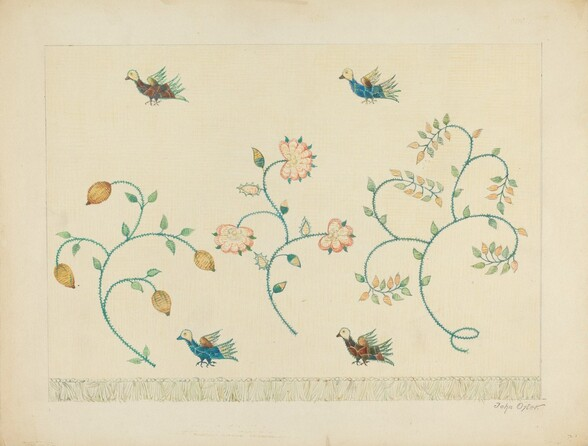 Set of Crewel Embroidered Bed Curtains