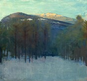 We look across a shaded field of snow, through two loosely spaced groves of trees to either side, towards a cobalt-blue mountain that nearly fills this square landscape painting. The base of the mountain comes about a third of the way up the composition and only a narrow band of vibrant turquoise sky runs above it, along the top edge of the canvas. The mountain curves up to its gentle peak to our left of center and slopes down gradually to our right. Patches of white snow stand out against the deep blue mountain just above the treetops. Trees along the mountaintop create a choppy contour against the sky. The broad summit of a second mountain beyond, to our right, is lit by the sun so the face is golden tan, shaded with denim blue. The snowy field close to us is painted with loose brushstrokes in arctic blue. The trees are painted with deep, olive green foliage or needles and tall, dark, straight trunks. Patches of topaz blue and fuchsia-pink appear on the ground among the larger clump of trees, on our left.