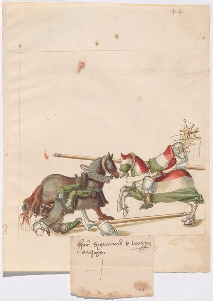 Freydal, The Book of Jousts and Tournaments of Emperor Maximilian I: Combats on Horseback (Jousts)(Volume I): Plate 41 Sigmund von Wolfspring