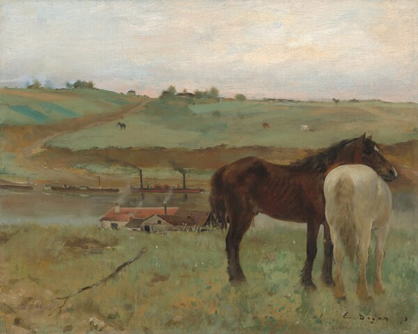 "Two horses, one dark brown and one creamy white, stand together to our right against a landscape with rolling, sage-green hills and a river or canal in this horizontal painting. Near us, facing our right in profile, the dark brown horse rests his head across the back of the creamy, white horse, who stands with its tail toward us. We and the horses seem to stand along the ridge of a grassy hill that dips beyond us to a waterway crossing the width of the canvas. Several buildings line the shore closer to us. At least one building has parchment-white walls and a red roof, and another has peanut-brown walls with a darker, chocolate-brown roof. More rooflines are nestled between, and gray smoke wafts from several chimneys. Long, low boats float near the opposite shore. The land rises in a hill across the water with more horses or other animals in the far pastures. The scene is loosely painted, and the background is the most indistinct, so some details are difficult to make out. Touches of brown and green suggest trees and perhaps more trees and buildings along the hill in the distance. The ivory-colored sky is touched with pale, petal pink and a hint of blue near the horizon. The artist signed and dated the work with dark paint in the lower right corner: ""E. Degas 71."""