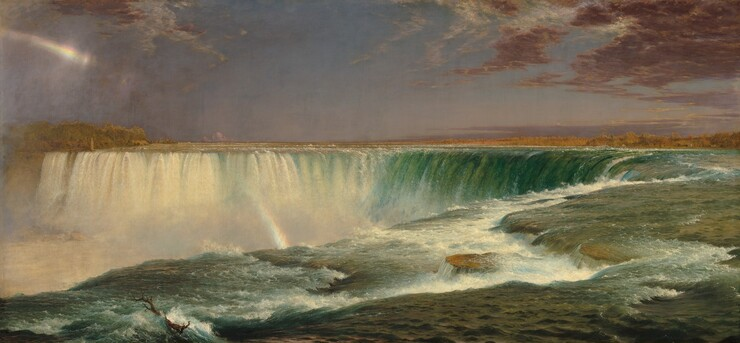 We seem to hover over the greenish-blue surface of a river as it rushes towards a horseshoe-shaped waterfall that curves away from us in this horizontal landscape painting. The water is white and frothy right in front of us, where the shelf of the riverbed seems to change levels near the edge of the falls. Across from us, the water is also white where it falls over the edge. A thin, broken rainbow glints in the mist near the upper left corner of the painting and continues its arc farther down, between the falls. The horizon line is just over halfway up the composition. Plum-colored clouds sweep into the composition at the upper corners against a lavender purple sky. Tiny trees and a few buildings line the shoreline to the left and right in the deep distance.