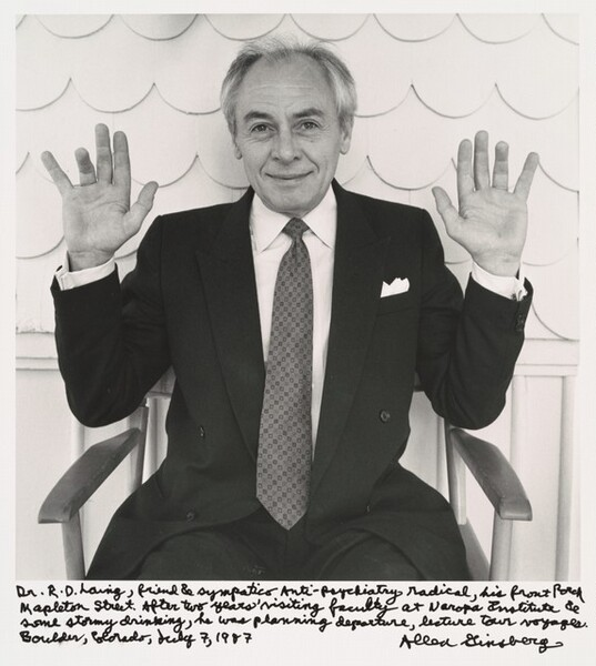 Dr. R.D. Laing, friend & sympatico Anti-psychiatry radical, his front porch Mapleton Street. After two years