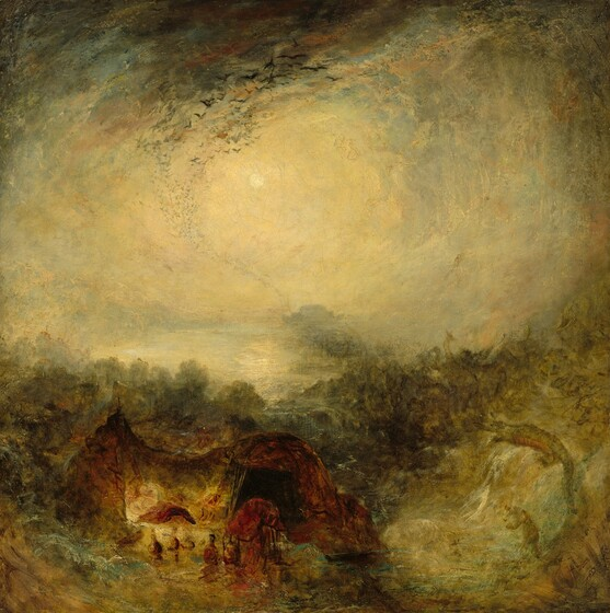 A butter-yellow sky fills the top two-thirds of this square landscape painting while in the bottom third, a brown structure is surrounded by golden yellow and pine-green forms like clouds. The scene is loosely painted with visible brushstrokes, so much of the detail is indistinct and the view seems hazy. Clouds spiral around the sun or moon, painted as a pale yellow disk, hanging in the center of the sky. The golden yellow clouds near the center darken to slate gray then rust brown, and nearly wine-red along the top edge. A flock of birds painted as a dense band of navy and denim blue Vs curve around the sun and continue into the deep distance. Below, touches of burgundy red and brown could indicate people or animals around the arched, copper-brown structure. Cloud-like puffs in forest green and golden yellow could suggest a forest or wildly crashing waves. A few faint outlines in this area suggest a bear, crocodile, giraffe, and maybe other ghostly creatures.