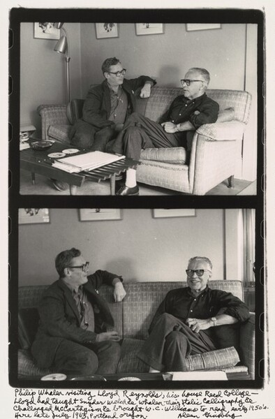 Philip Whalen visiting Lloyd Reynolds, his house Reed College- Lloyd had taught Snyder Welch & Whalen their Italic Calligraphy & Challenged McCarthyism & brought W.C. Williams to read, early 1950