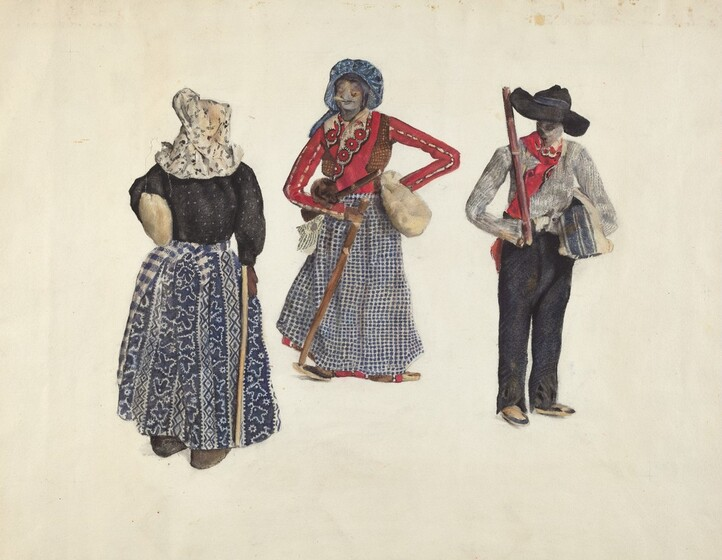 A 1935 rendering by Jane Iverson, in graphite, watercolor, and ink, showing three apple-head dolls created by Almira Smith of North Carolina, ca. 1892. The leftmost doll wears a blue skirt, a black dolman sleeve blouse and white bonnet, walking with a cane. The center doll wears a blue skirt and bonnet, and a red long sleeve form fitting blouse, carries a crossbody satchel, and walks with a cane; the rightmost doll wears black trousers, a grey shirt, a red scarf, and a black widebrim hat, and carries a walking stick over the shoulder.